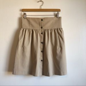 Zara Woman high waisted mini flare khaki skirt